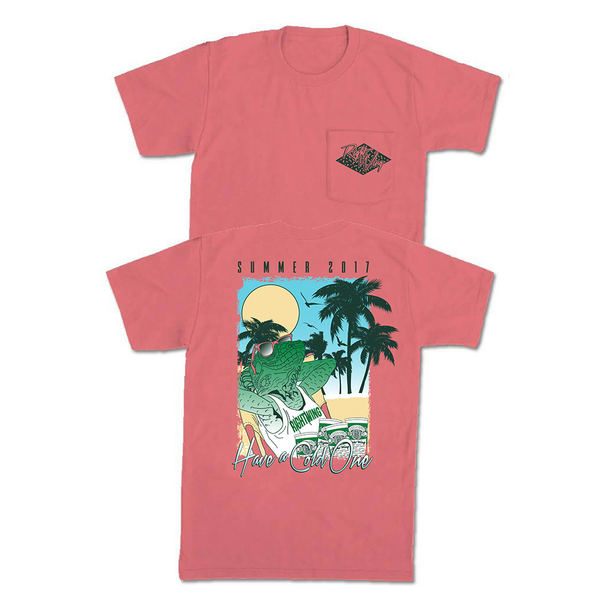 Right Wing Iguana Pocket Tee - Watermelon