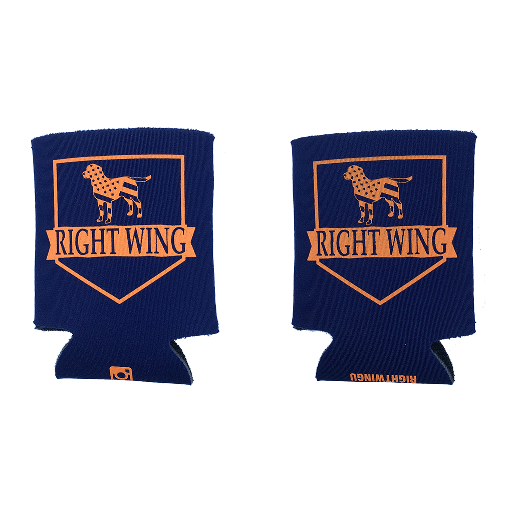 Right Wing University Koozie (Navy w/ Orange)
