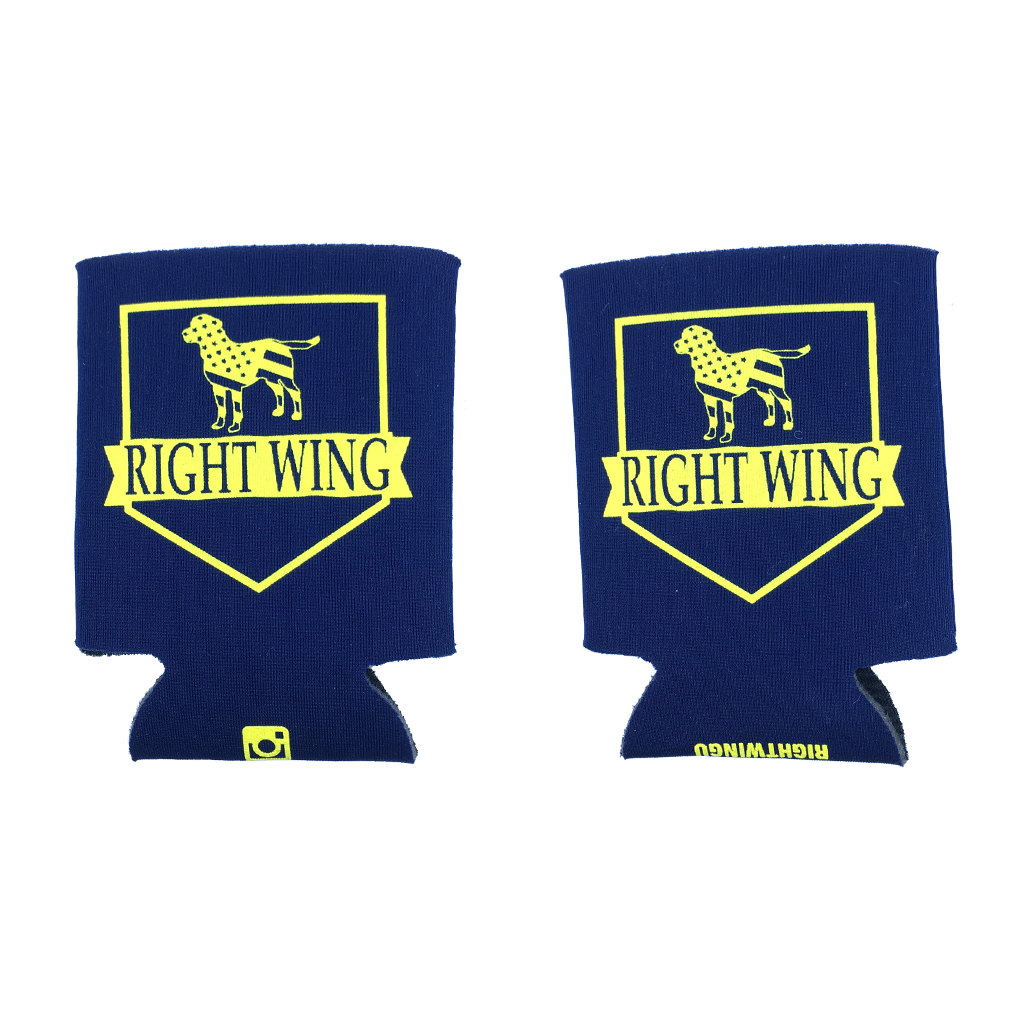 Right Wing University Koozie (Navy w/ Yellow)