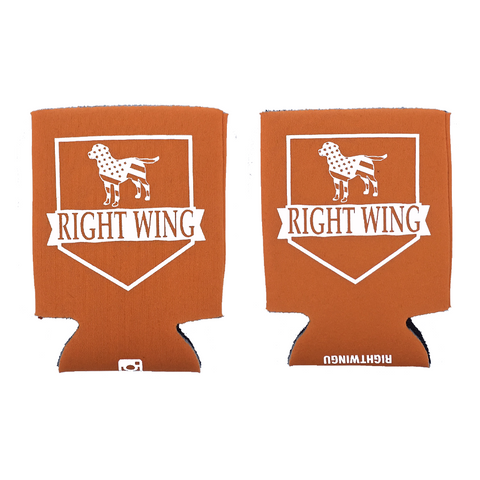 Right Wing University Koozie (Orange w/ White)