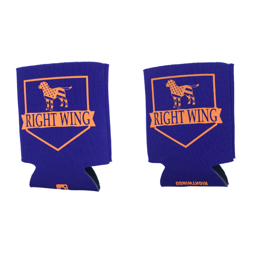 Right Wing University Koozie (Purple w/ Orange)