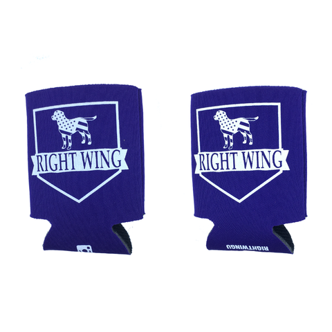 Right Wing University Koozie (Purple w/ White)