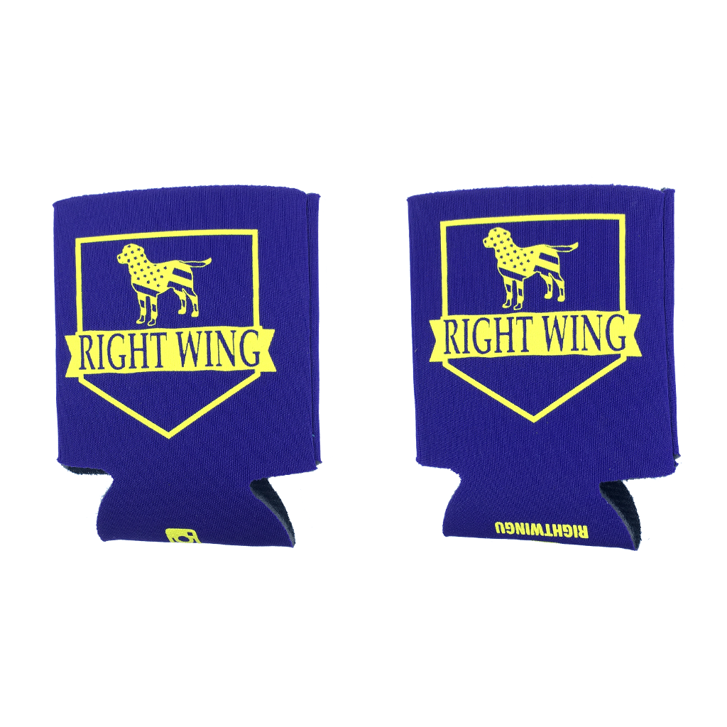 Right Wing University Koozie (Purple w/ Yellow)