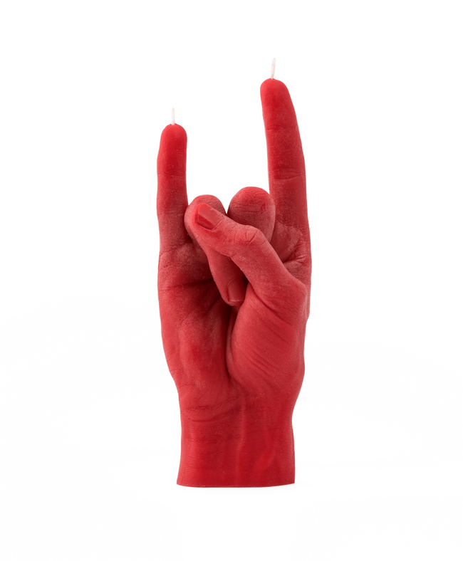 Candle Hand Red 'You Rock' Candle , Candles, Candle Hand, Working Title Clothing
