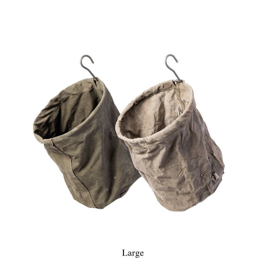 Puebco Old Tent Fabric Baskets with Hooks - Large