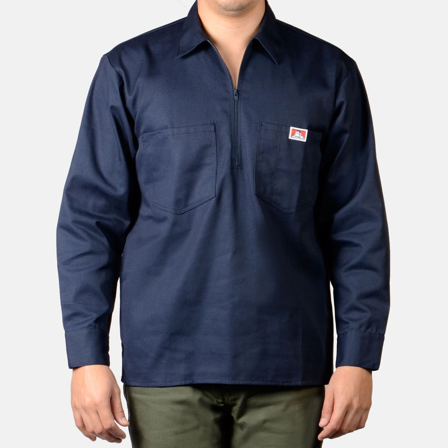 Ben Davis Half Zip Long Sleeve Solid - Navy