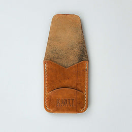 Kjøtt Supply Co. Vertical Minimalist Pocket Card Holder Horween Natural Thread Stacked Logo , Card Holder, Kjøtt Supply Co., Working Title