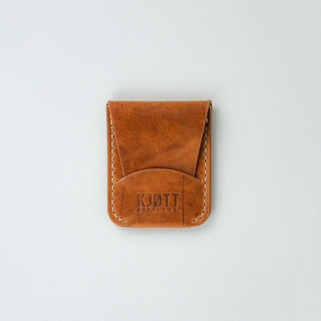 Kjøtt Supply Co. Vertical Minimalist Pocket Card Holder Horween Natural Thread Stacked Logo