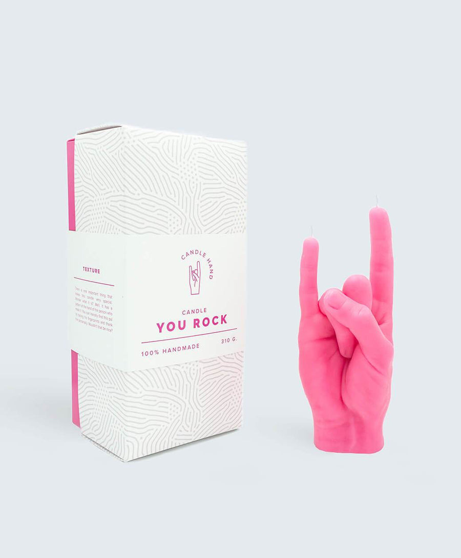 Candle Hand You Rock Limited Edition Pink Hand Gesture candle , Candles, Candle Hand, Working Title