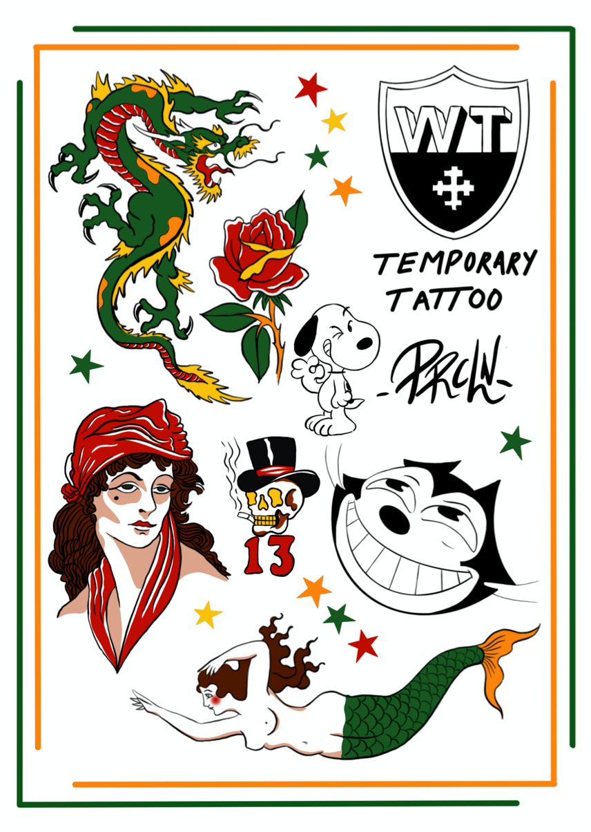 Working Title X _prcln_ Temporary Tattoo Sheet , Tattoo Sheet, Art + Object, Working Title