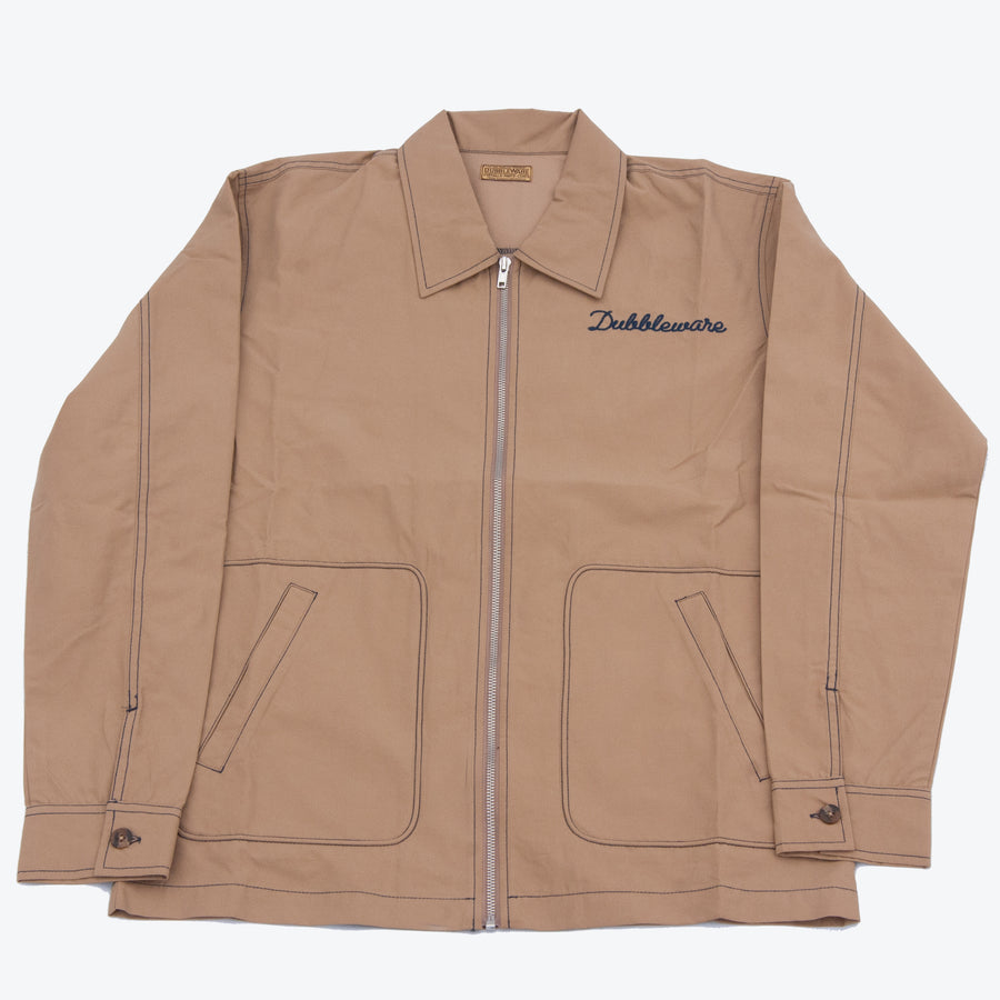 Dubbleware Embroidered Logo Zip Up Coach Jacket - Sand
