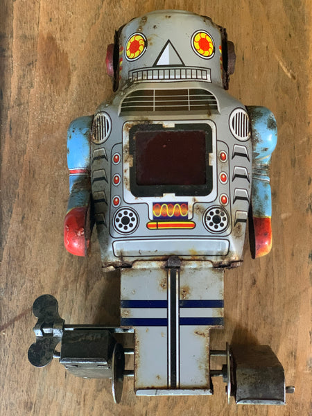 Vintage Made In Japan Ichiko Japanese Tin Wind Up Sparky Robot Toy