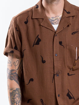Uncle Bright Pipe Bulb and Bowler Hat Pattern Vicose & Linen Brown Short Sleeve Shirt