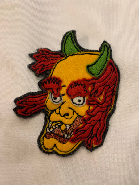 Japanese Demon God Face Hand Stitched Patch (Working Title exclusive) , Patch, Art + Object, Working Title