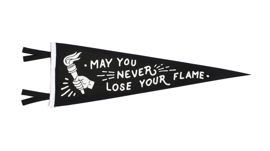 Oxford Pennant May You Never Lose Your Flame Wool Felt Pennant , Pennant, Oxford Pennant, Working Title