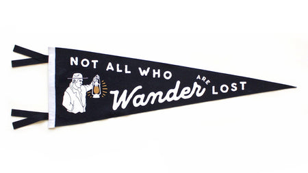 Oxford Pennant Not All Who Wonder Are Lost Wool Felt Pennant , Pennant, Oxford Pennant, Working Title