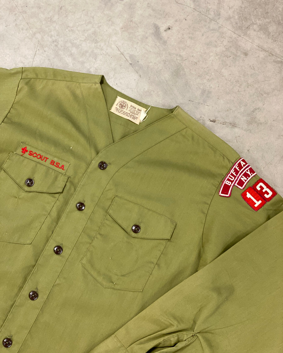 Vintage L/S Scout Khaki Baseball Collar Shirt with Embroidered Badges