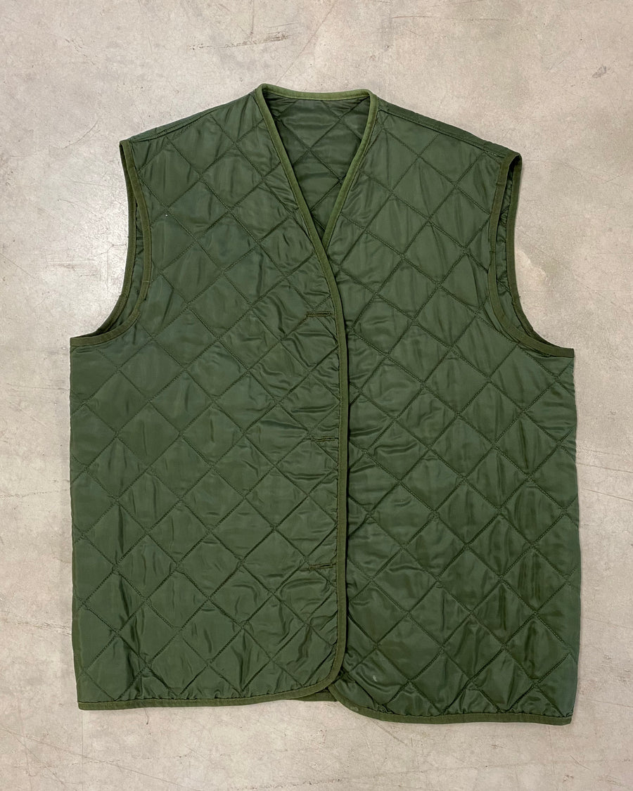 Vintage Quilted Khaki Under Layer Vest / Gilet