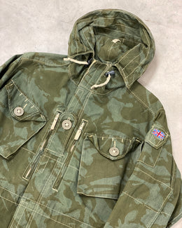 Vintage Camo Parka with Pocket Details & British Flag Embroidery