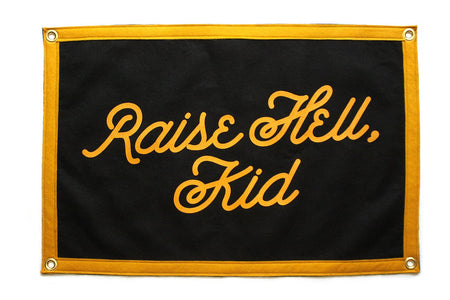 Oxford Pennant Raise Hell Kid Wool Felt Camp Flag Wall Hanging , Flag, Oxford Pennant, Working Title
