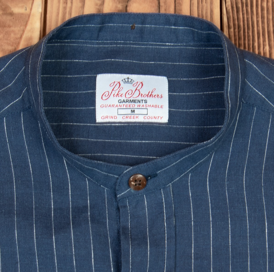 Pike Brothers 1923 Buccanoy Series Hudson Blue Mandarin Collar Shirt , Shirts, Pike Brothers, Working Title