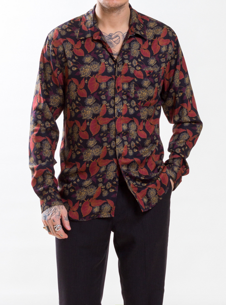 Uncle Bright Cooper Rust Flower Viscose Shirt
