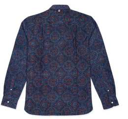 Kardo Rodney Ajrakh Printed 100% Brushed Cotton L/S Shirt - Blue
