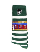 Left Field NYC Skull Tube Socks - Green/White Stripes