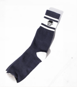Left Field NYC Skull Tube Socks - Navy/White Stripes