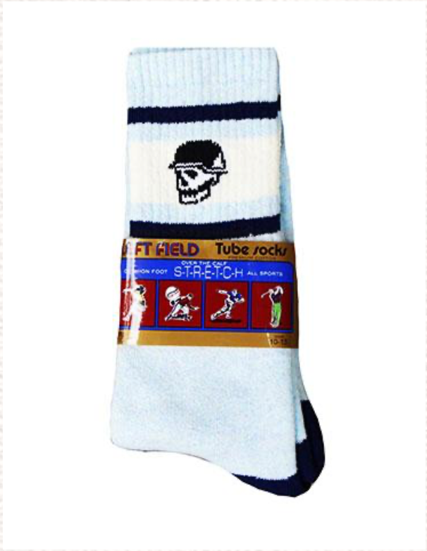 Left Field NYC Skull Tube Socks - Baby Blue/White