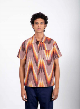 Kardo Chintan Ikat 30 Regular Collar Boxy Fit Short Sleeve Shirt