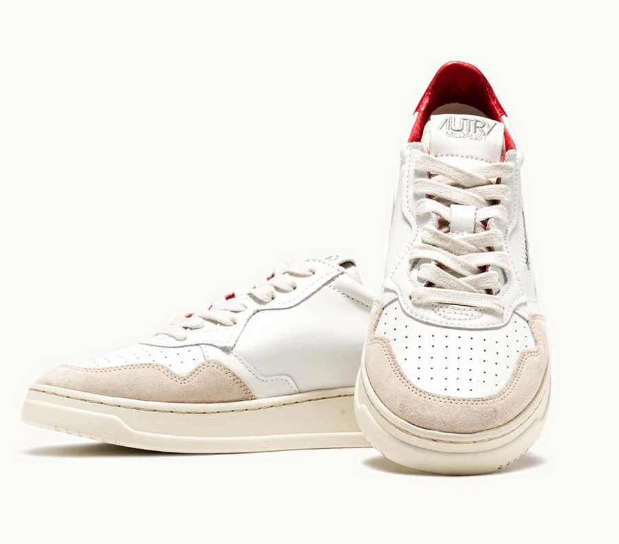Autry Action Shoes Leather & Suede AULM LS38- Red & White