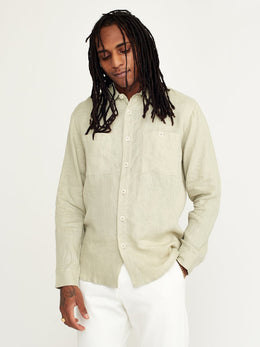 Wax London Whiting Linen Overshirt - Sage