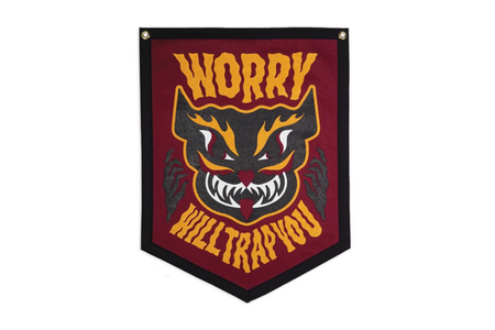 Oxford Pennant Worry Will Trap Your Mind Wool Felt Camp Flag Wall Hanging , Flag, Oxford Pennant, Working Title