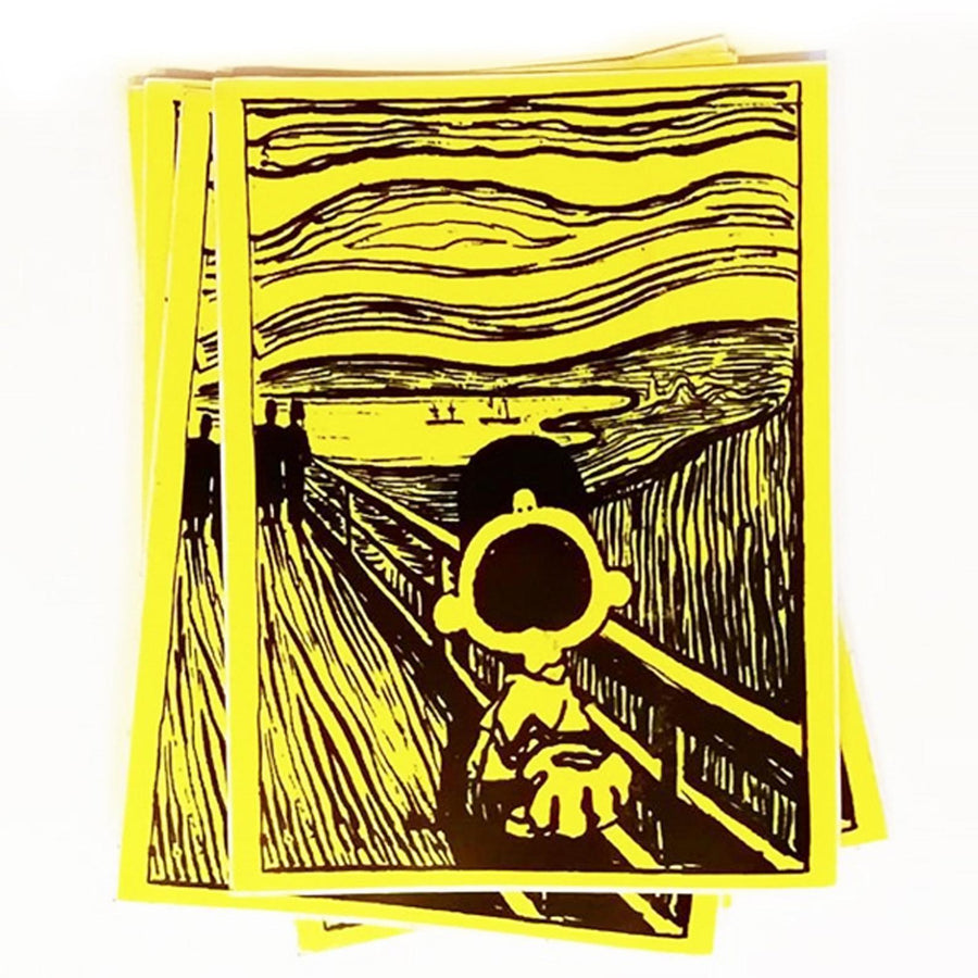 Charlie Brown X The Scream - Mandy Doubt - Sticker , Greetings Cards, Art + Object, Working Title