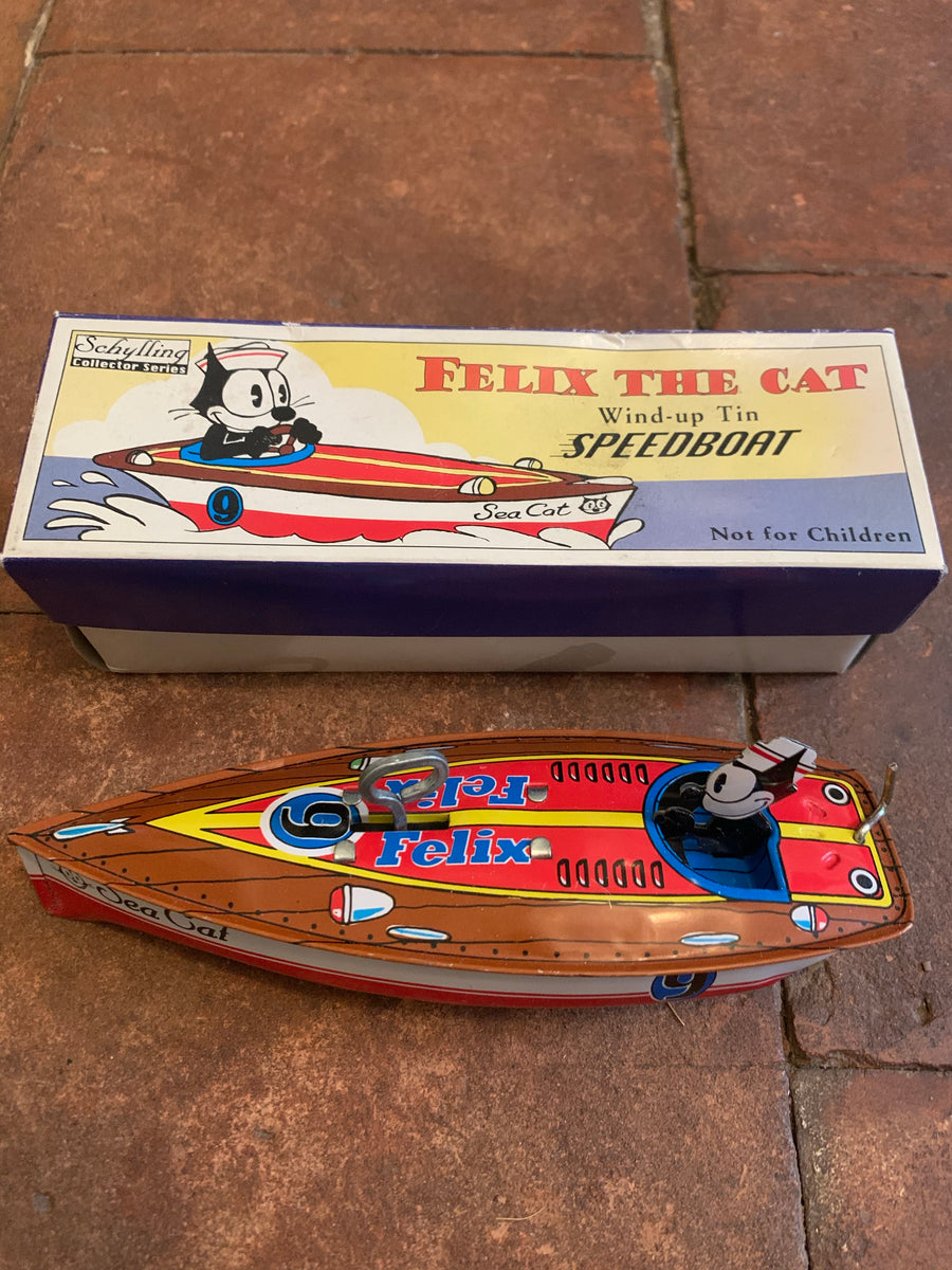 Felix The Cat Schylling Collector Series Wind Up Tin Speedboat !