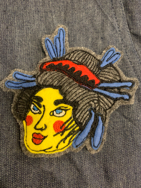Japanese Geisha Inspired Face Hand Stitched Embroidered Patch (Working Title exclusive) , Patch, Art + Object, Working Title