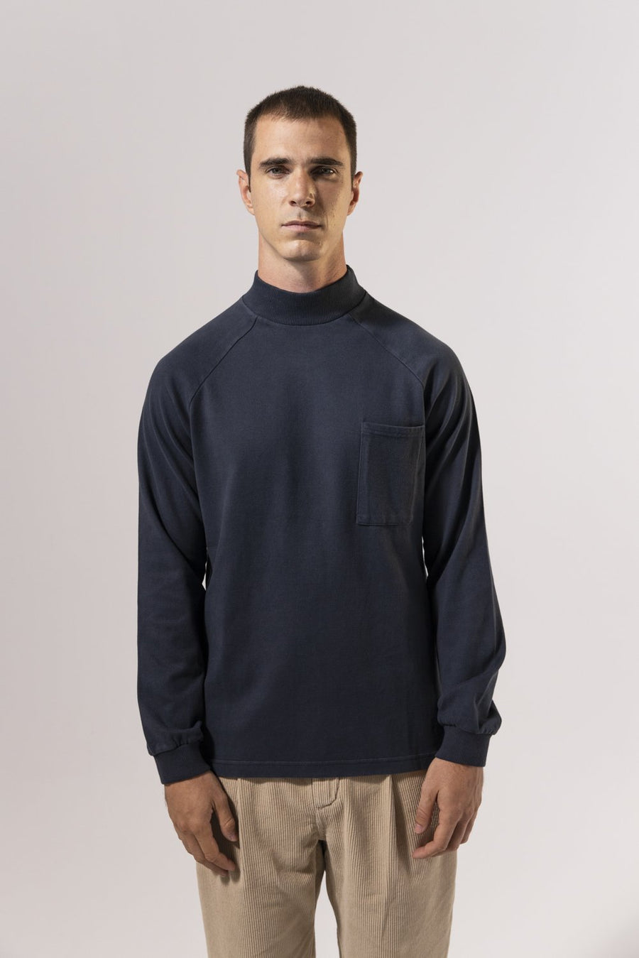 Unfeigned Gear Long Sleeve Smock Neck T-Shirt - Blue Graphite