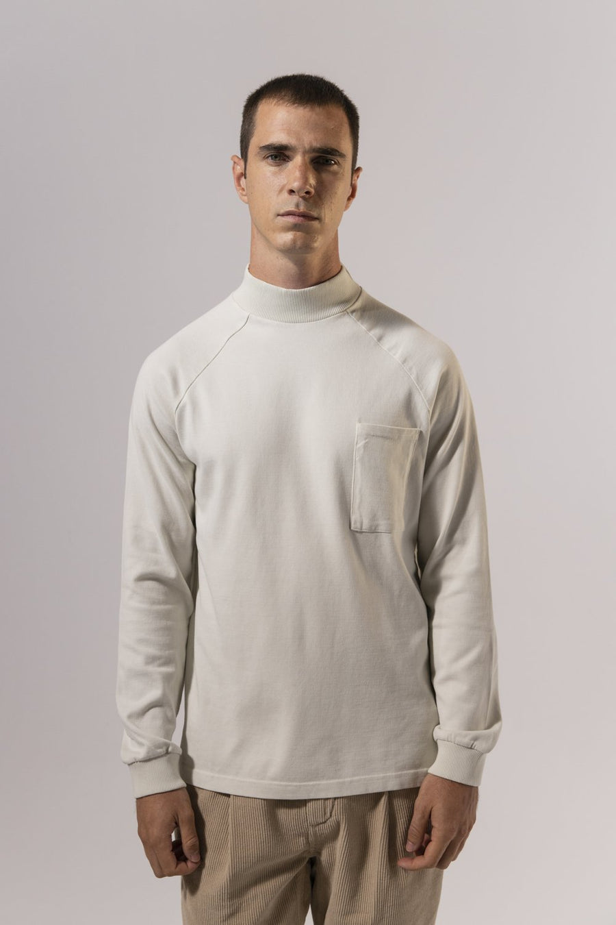 Unfeigned Gear Long Sleeve Smock Neck T-Shirt - Bone White