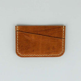 Kjøtt Supply Co. Horizontal Minimalist Card Holder Horween Natural Thread - Stacked Logo , Card Holder, Kjøtt Supply Co., Working Title