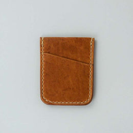 Kjøtt Supply Co. Vertical Minimalist Card Holder Horween Natural Thread Stacked Logo , Card Holder, Kjøtt Supply Co., Working Title