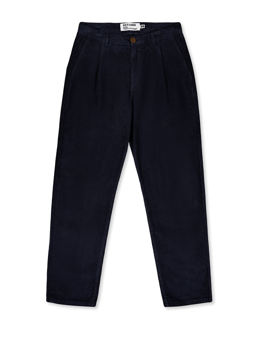 Outland Wear France Cord Pleated Trousers Pantalon - Navy