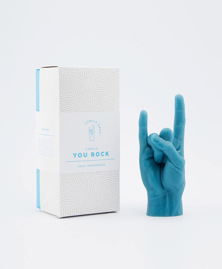 Candle Hand You Rock Blue Hand Gesture candle , Candles, Candle Hand, Working Title Clothing