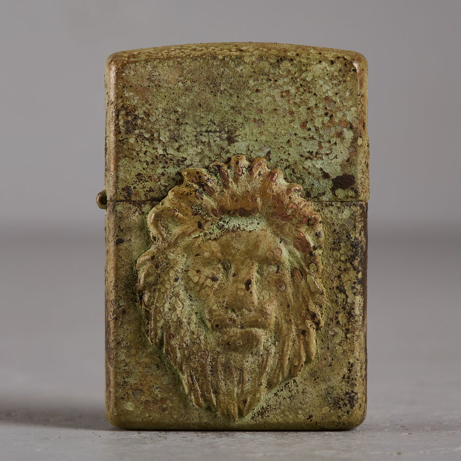 Hartaufhart Zippo Lighter Oxide Green Lion King