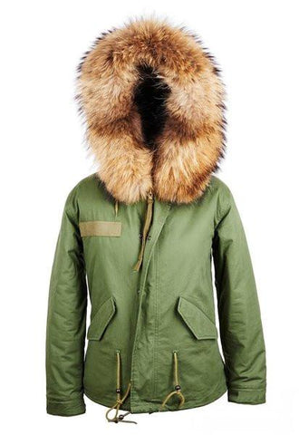 Adult Parka Jacket With Raccoon Fur Collar