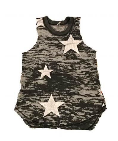 T2Love Raw Edge Burnout Muscle Top with Stars