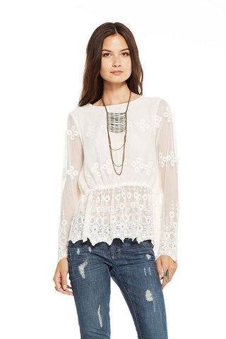 Chaser - Chaser White Vintage Lace Peplum Top - childwithstyle