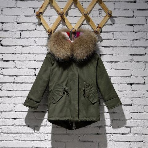 Kids Parka Jacket With Raccoon Fur Collar