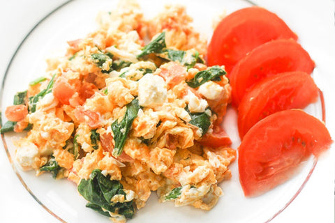 Mediterranean omelette with spinach, feta and tomato