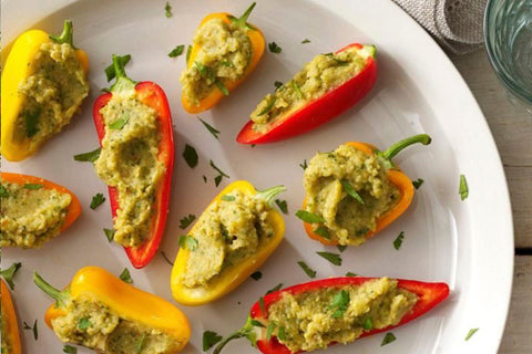 Mini peppers stuffed with chickpeas